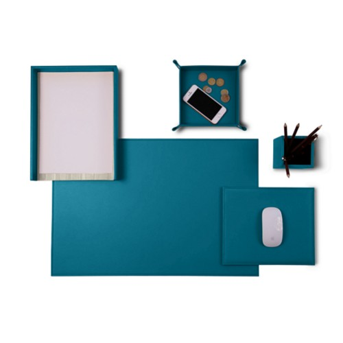 "Senator Edition"" desk set"" - Turquoise - Smooth Leather"