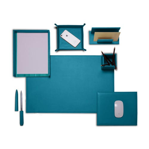 "Presidential Edition"" desk set"" - Turquoise - Smooth Leather"