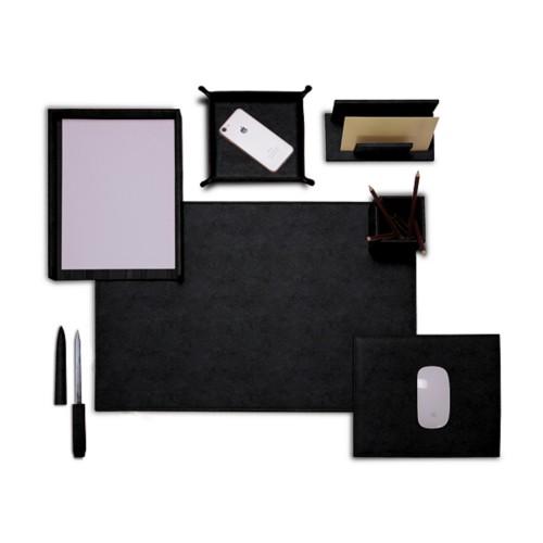 "Presidential Edition"" desk set"" - Black - Vegetable Tanned Leather"
