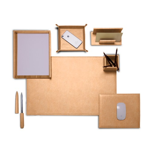 "Presidential Edition"" desk set"" - Natural - Vegetable Tanned Leather"