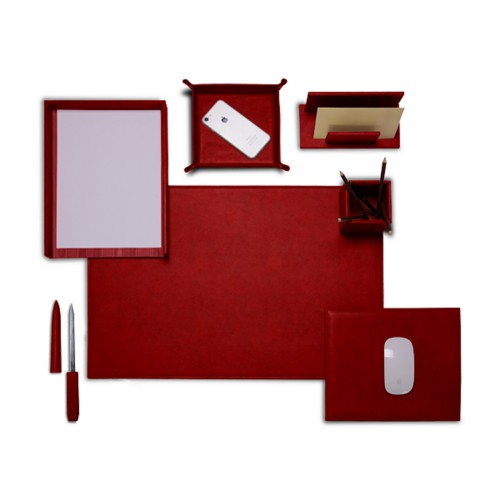"Presidential Edition"" desk set"" - Carmine - Vegetable Tanned Leather"