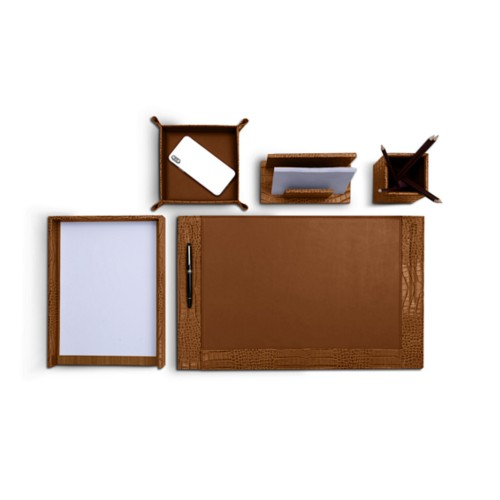 Office desk set in Crocodile-style Calf leather