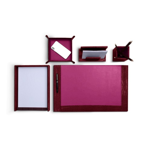 Office desk set in Crocodile-style Calf leather - Fuchsia  - Crocodile style calfskin