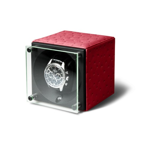Remontoir pour une Montre - SwissKubik by LUCRIN - Rouge - Autruche Véritable