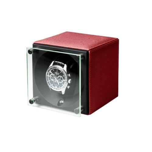 Single watch winder  SwissKubik - by LUCRIN - Pink Salmon - Goat Leather