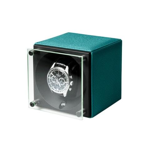 Single watch winder  SwissKubik - by LUCRIN - Sea Green - Goat Leather