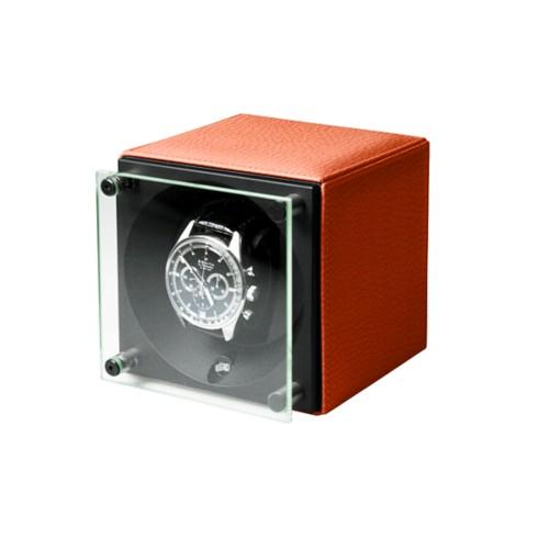 Remontoir pour une Montre - SwissKubik by LUCRIN - Orange - Cuir Grainé