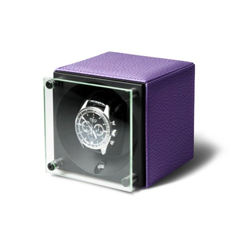 Single watch winder  SwissKubik - by LUCRIN - Lavender - Granulated Leather