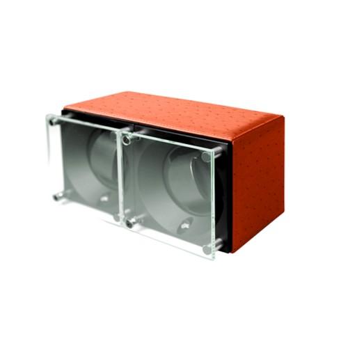 Remontoir pour 2 montres - SwissKubik by Lucrin - Orange - Autruche Véritable