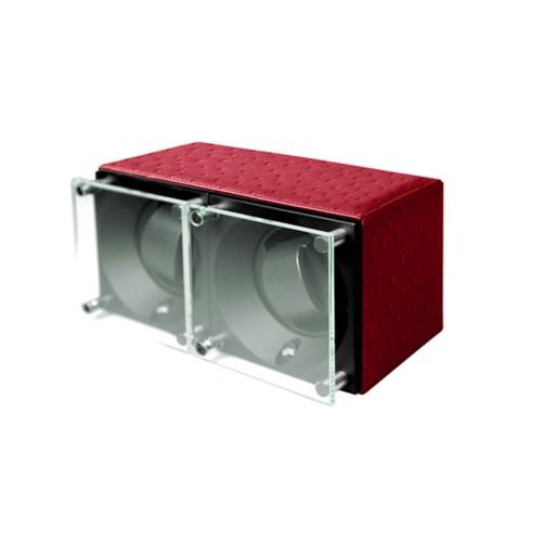 Remontoir pour 2 montres - SwissKubik by Lucrin - Rouge - Autruche Véritable
