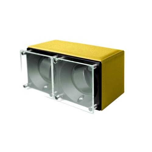 Double watch winder - SwissKubik by LUCRIN - Lemon Yellow - Goat Leather