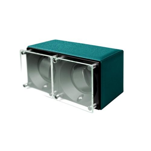 Double watch winder - SwissKubik by LUCRIN - Sea Green - Goat Leather
