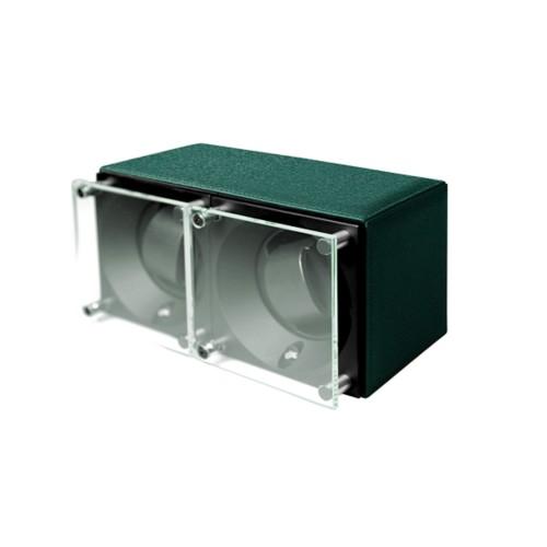 Remontoir pour 2 montres - SwissKubik by Lucrin - Vert Foncé - Cuir de Chèvre