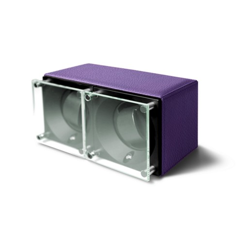 Double watch winder - SwissKubik by LUCRIN - Lavender - Granulated Leather