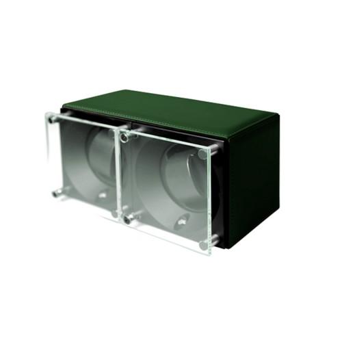 Remontoir pour 2 montres - SwissKubik by Lucrin - Vert Foncé - Cuir Lisse