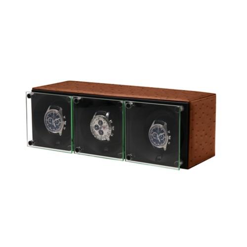Triple watch winder - SwissKubik by LUCRIN - Tan - Real Ostrich Leather