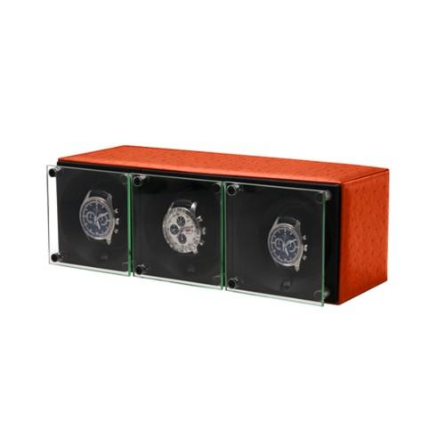 Remontoir pour 3 montres - SwissKubik by Lucrin - Orange - Autruche Véritable
