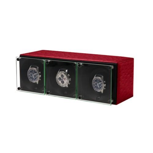 Remontoir pour 3 montres - SwissKubik by Lucrin - Rouge - Autruche Véritable