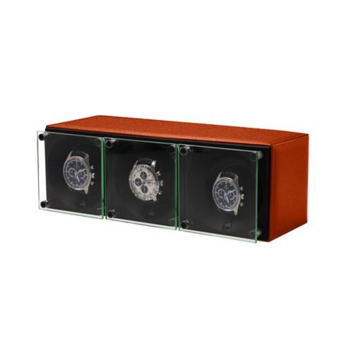 Remontoir pour 3 montres - SwissKubik by Lucrin - Orange - Cuir de Chèvre