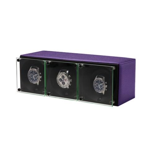 Triple watch winder - SwissKubik by LUCRIN - Lavender - Granulated Leather