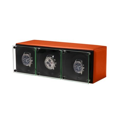 Remontoir pour 3 montres - SwissKubik by Lucrin - Orange - Cuir Lisse