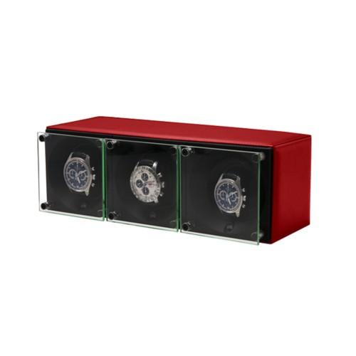 Remontoir pour 3 montres - SwissKubik by Lucrin - Rouge - Cuir Lisse