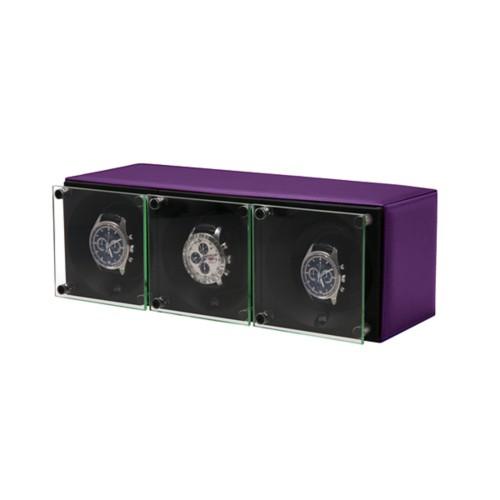 Triple watch winder - SwissKubik by LUCRIN - Lavender - Smooth Leather