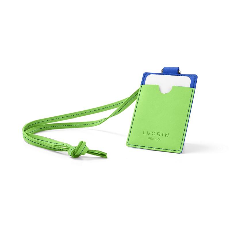 32463d0d5d67 Lanyard Badge Holder Royal Blue-Light Green - Nubuck Calf Lanyard Badge  Holder Royal Blue-Light Green - Nubuck Calf 
