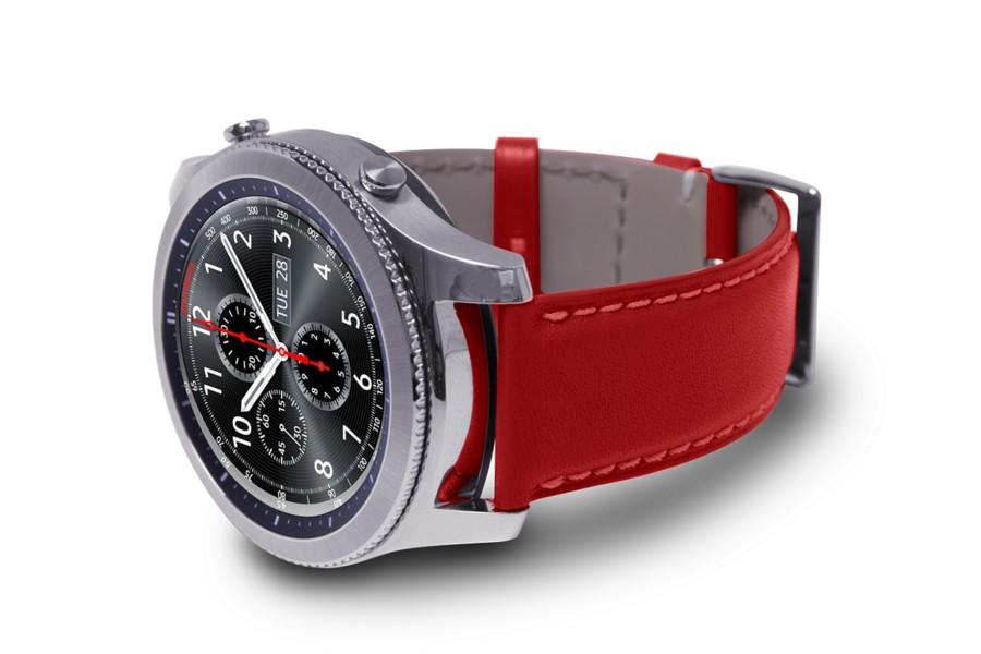 bracelet montre en cuir pour samsung galaxy gear s3. Black Bedroom Furniture Sets. Home Design Ideas