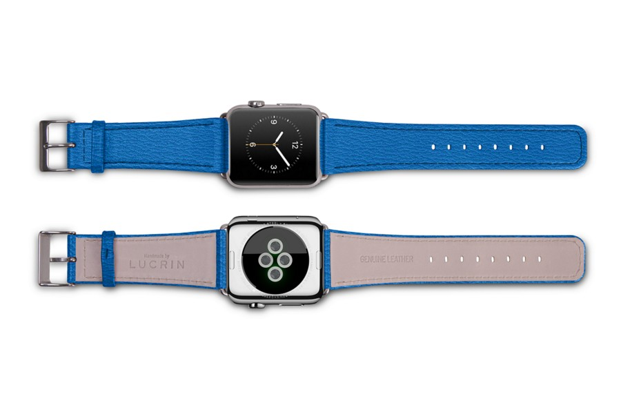 Cinturino per Apple Watch 42 mm - Blu Azzuro - Pelle di Capra