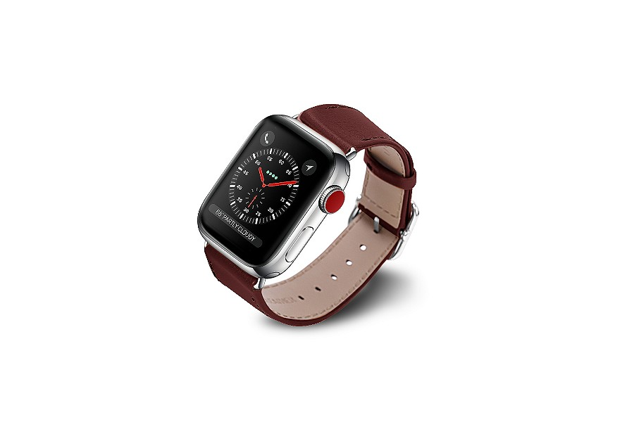 Replacement Leather Apple Watch Strap 42mm/44mm - Burgundy