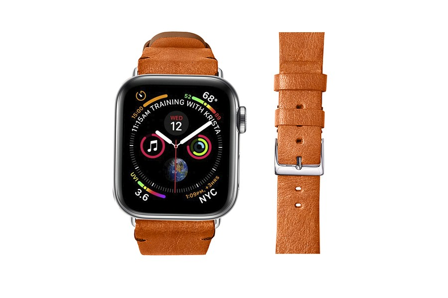 Apple Watch band 44 mm in vegetable-tanned leather
