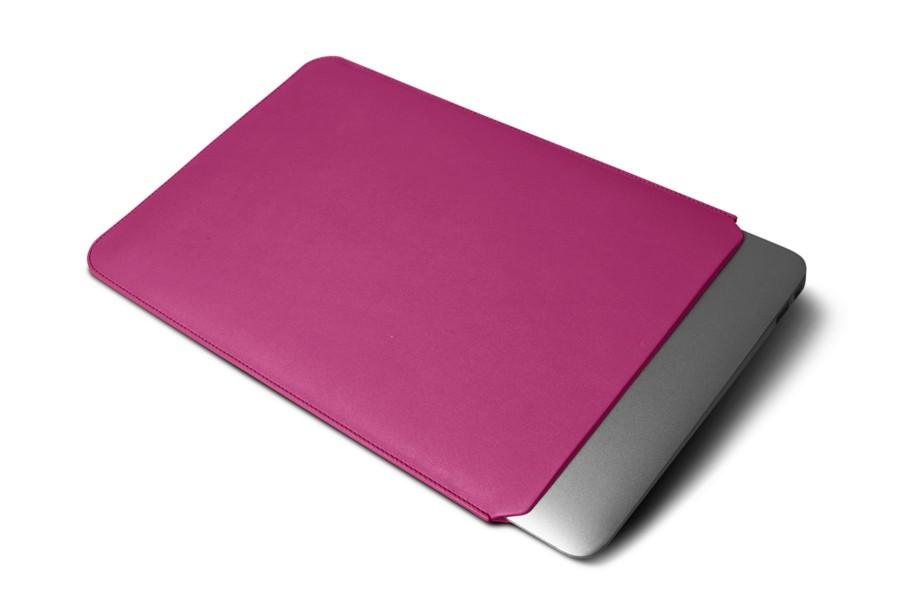 Housse macbook air 13 pouces fuchsia cuir lisse for Housse macbook air