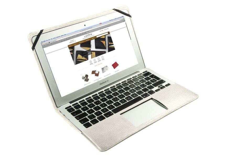 ecrin cuir pour macbook air 11 pouces blanc cass cuir. Black Bedroom Furniture Sets. Home Design Ideas