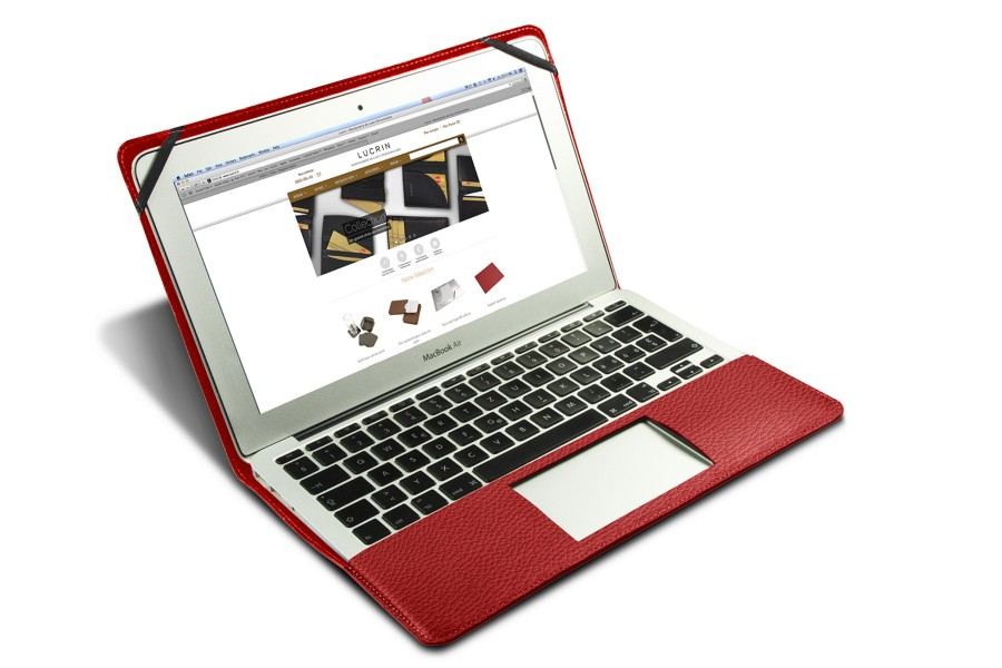 crin macbook air 13 pouces rouge cuir grain. Black Bedroom Furniture Sets. Home Design Ideas
