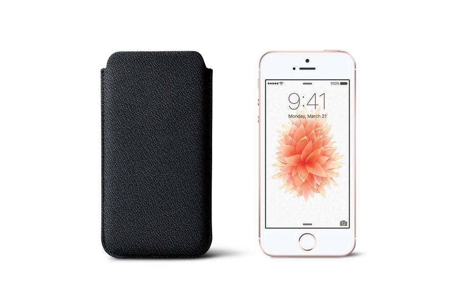 Housse Classique Iphone Se 5 5s Noir Cuir De Ch Vre