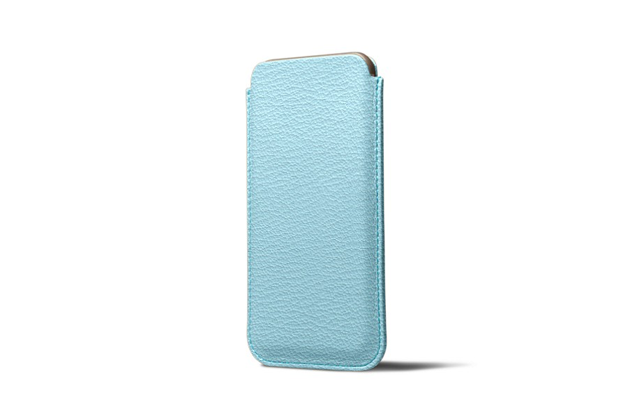 Étui classique iPhone 7 - Bleu ciel - Cuir de Chèvre