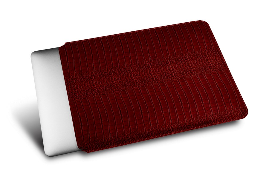 Housse macbook rouge veau fa on crocodile macbook for Housse macbook 12