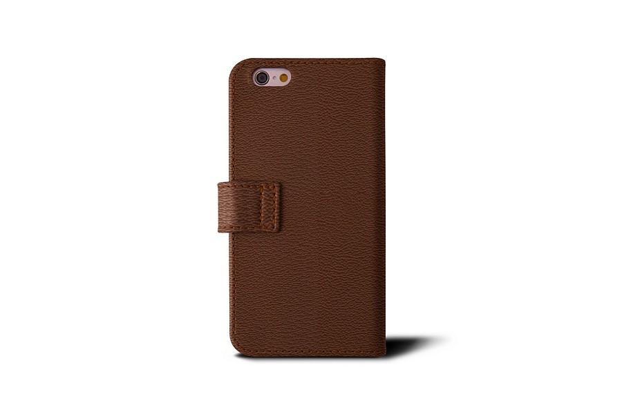 Tui portefeuille iphone 6 6s cognac cuir de ch vre for Etui iphone 6 portefeuille