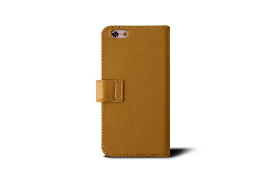 Tui portefeuille iphone 6 6s jaune moutarde cuir for Etui iphone 6 portefeuille