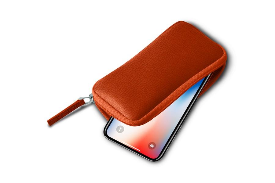 Housse zipp e iphone x orange cuir grain iphone x for Housse zippee