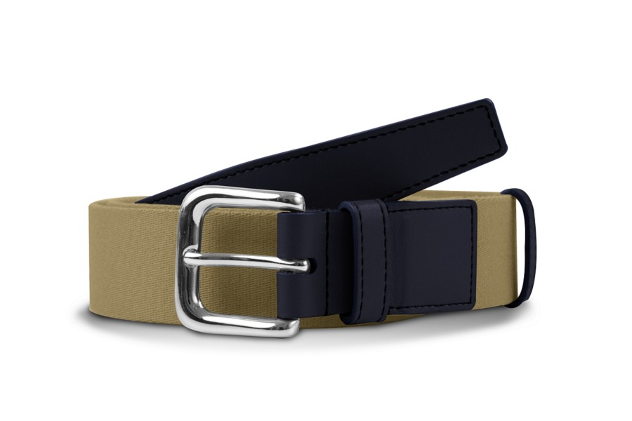 Leather-cotton beige belt 3.5 cm