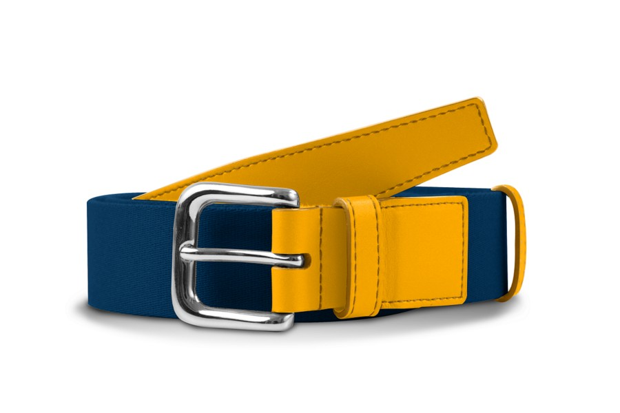Leather-cotton blue belt 1.4 inches