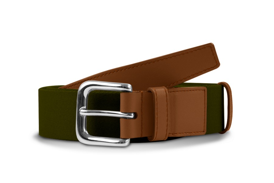 Leather-cotton khaki belt 3.5 cm