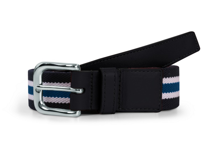 Leather-cotton blue stripe belt 1.4 inches