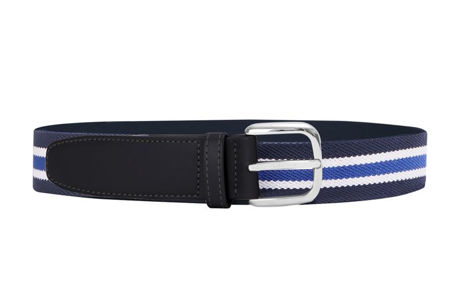 Leather-cotton blue stripe belt 3.5 cm