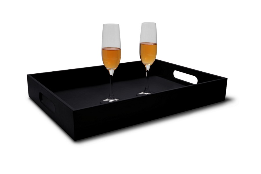 tablett mit henkeln ma e 50 x 35 cm schwarz glattleder. Black Bedroom Furniture Sets. Home Design Ideas