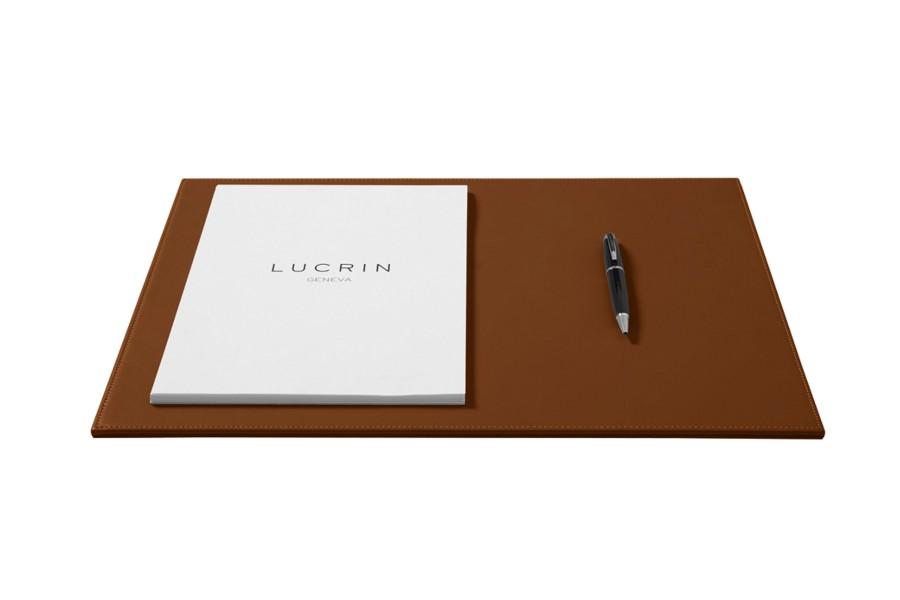 sous main de bureau rigide en cuir cognac cuir lisse. Black Bedroom Furniture Sets. Home Design Ideas