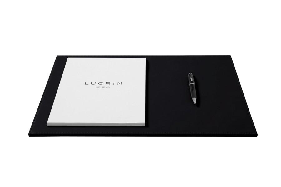 sous main d coratif 44 x 27 cm noir cuir lisse sous main bureau. Black Bedroom Furniture Sets. Home Design Ideas