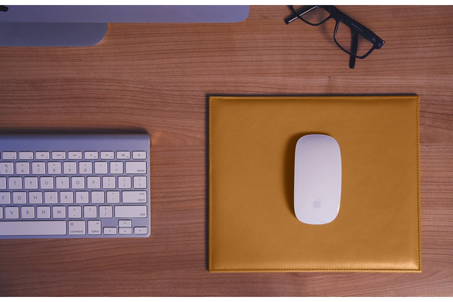 Rectangular Mouse Pad - Natural - Smooth Leather